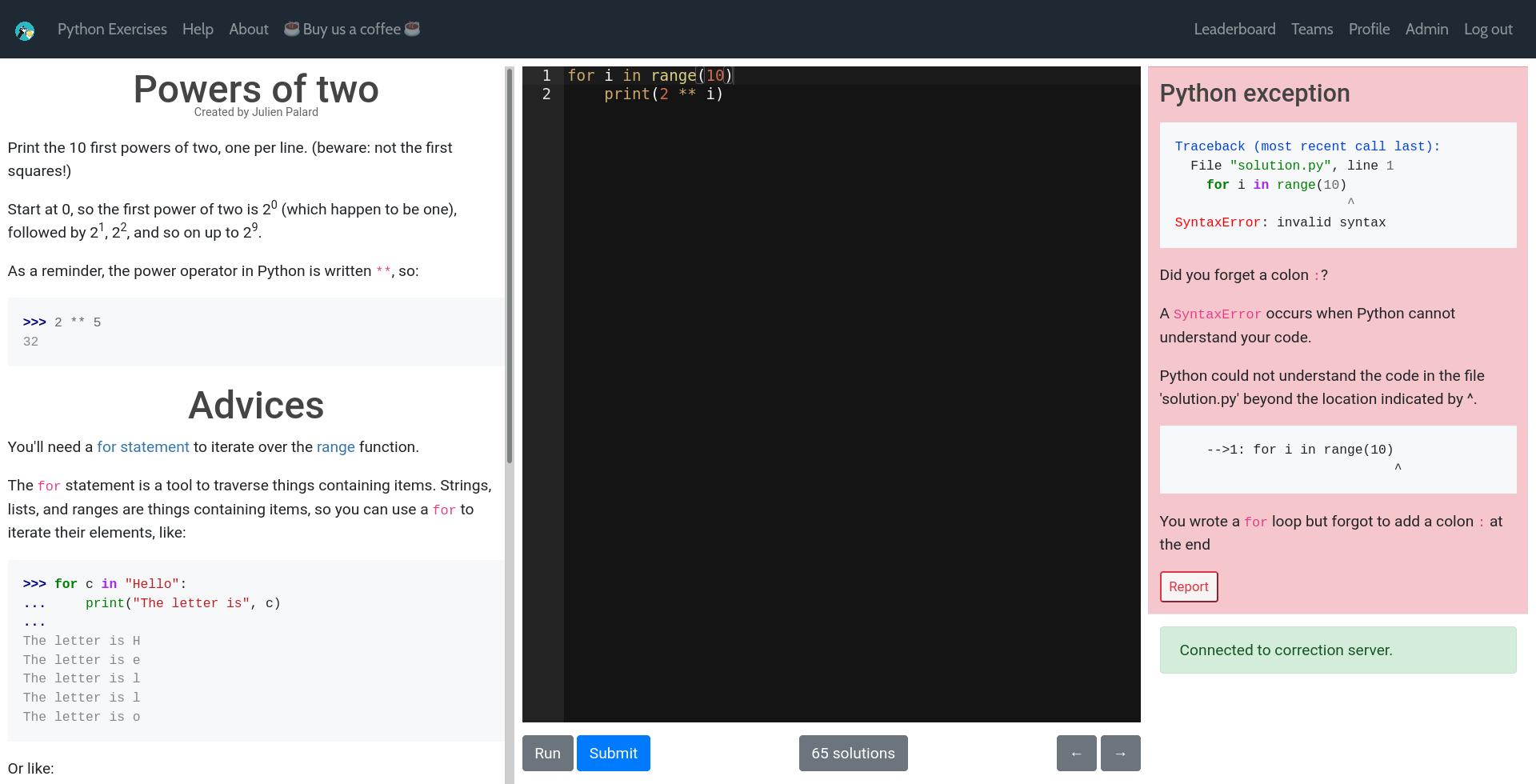 HackInScience screenshot